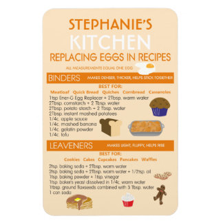Egg Substitutes for Baking Chart Personalized Magnet