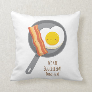 Eggcellent Together Cute Bacon and Egg Pillow