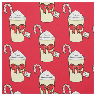 Eggnog with Christmas Cane and Bow Fabric