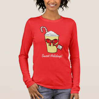 Eggnog with Christmas Cane and Bow Long Sleeve T-Shirt