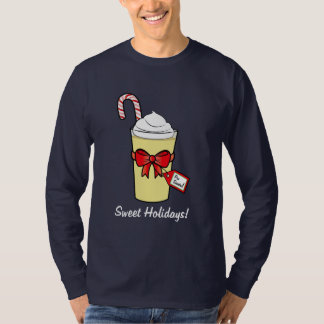 Eggnog with Christmas Cane and Bow T-Shirt