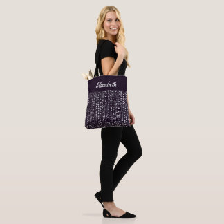 Eggplant and Silver Sparkle Bridesmaid Tote