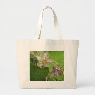 Eggplant Flowers Large Tote Bag