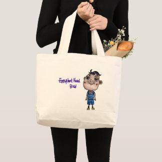 Eggplant Head Boy Large Tote Bag
