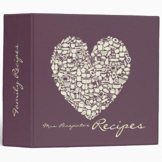 Eggplant & Ivory Heart Recipe Binder