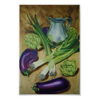 Eggplant, Leek & Artichoke Poster