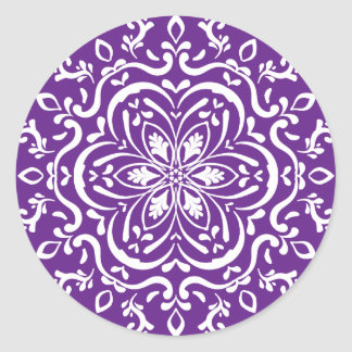 Eggplant Mandala Classic Round Sticker