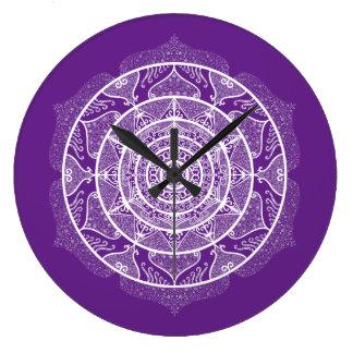 Eggplant Mandala Large Clock