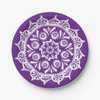Eggplant Mandala Paper Plate