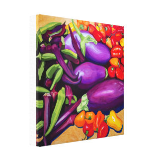 Eggplant & Peppers Canvas Print