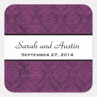 Eggplant Purple Damask Save the Date Wedding V05 Square Sticker