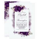 Eggplant Purple Floral Elegant Watercolor Wedding Card