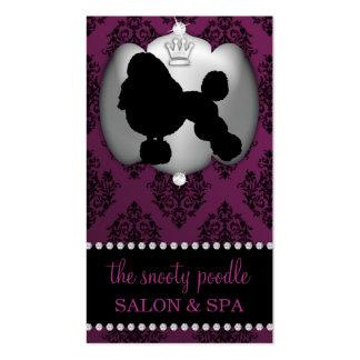 Eggplant Purple Jeweled Damask Dog Grooming/Spa Business Card