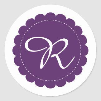Eggplant Purple Scalloped Circle Cursive Monogram Classic Round Sticker