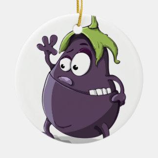 Eggplant Purple Vegetable Eyed Toothy Cartoon Ceramic Ornament