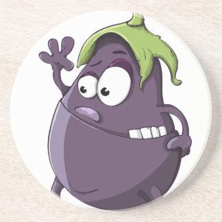 Eggplant Purple Vegetable Eyed Toothy Cartoon Coaster