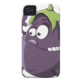 Eggplant Purple Vegetable Eyed Toothy Cartoon iPhone 4 Case-Mate Case