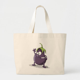 Eggplant Purple Vegetable Eyed Toothy Cartoon Large Tote Bag