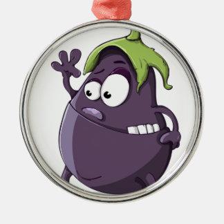 Eggplant Purple Vegetable Eyed Toothy Cartoon Metal Ornament