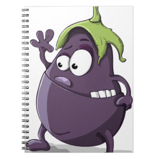 Eggplant Purple Vegetable Eyed Toothy Cartoon Notebooks