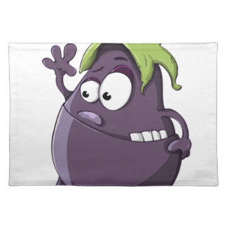 Eggplant Purple Vegetable Eyed Toothy Cartoon Placemat