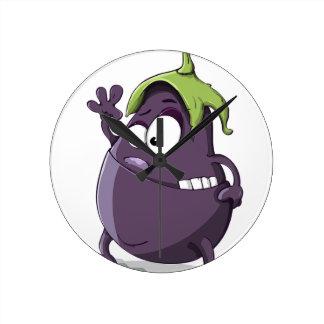 Eggplant Purple Vegetable Eyed Toothy Cartoon Round Clock