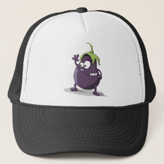 Eggplant Purple Vegetable Eyed Toothy Cartoon Trucker Hat