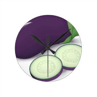 Eggplant Round Clock