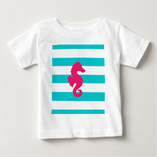 Eggplant Sea Horse on Teal and White Stripes Baby T-Shirt