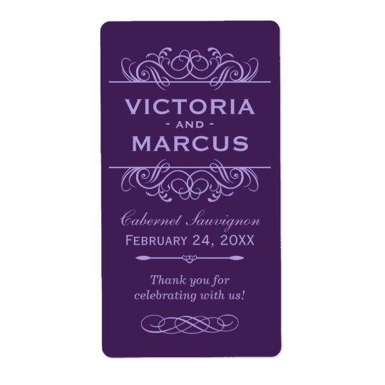 Eggplant Wedding Wine Bottle Monogram Favour Shipping Label