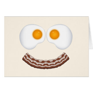 Eggs and Bacon Grin Greeting Card- With Greeting Card