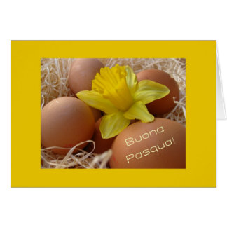 Eggs and daffodil easter greeting - italian card