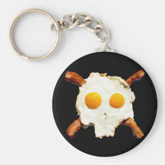 Eggs & Bacon Skull - Black Background Key Chains