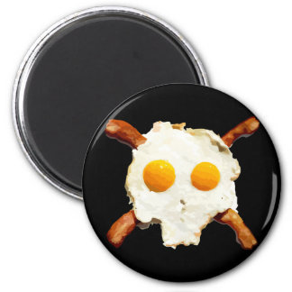 Eggs & Bacon Skull - Black Background Magnet