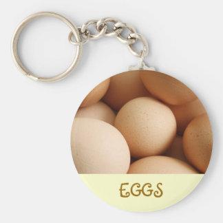 Eggs Basic Round Button Keychain