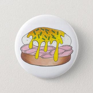 Eggs Benedict Breakfast Diner Food Foodie Ham 2 Inch Round Button