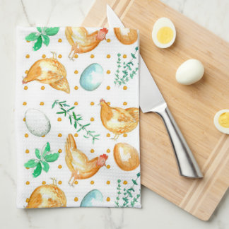 Eggs Chickens Hens Herbs Kitchen Towel