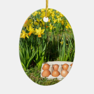 Eggs in box on grass with yellow daffodils ceramic oval ornament