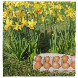 Eggs in box on grass with yellow daffodils napkin