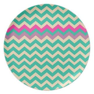 Eggshell and Teal Chevron With Colorful Border Plate
