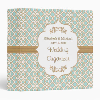 Eggshell Blue and Gold Moroccan Wedding Planner 3 Ring Binders