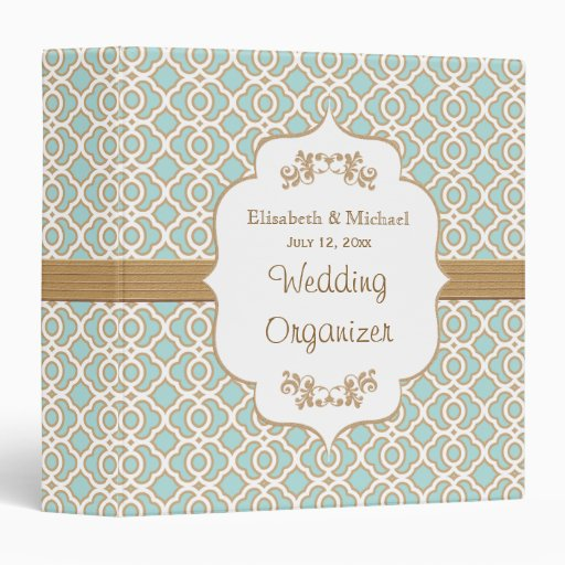 Eggshell Blue and Gold Moroccan Wedding Planner Binders