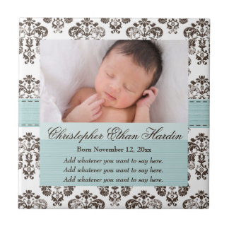 Eggshell Blue Baby Photo Damask Ceramic Tile Trive