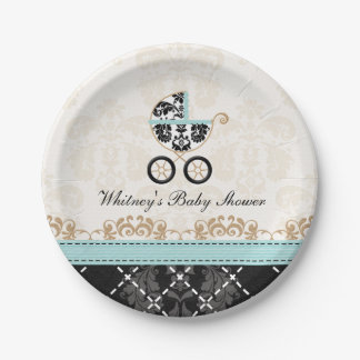 Eggshell Blue Damask Carriage Baby Shower 7 Inch Paper Plate