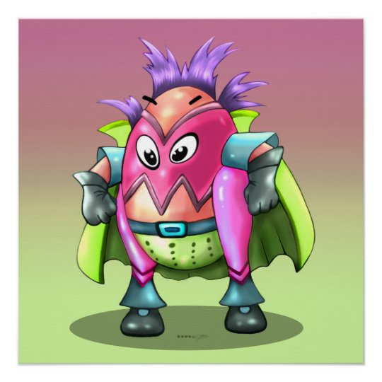 EGGTOR CUTE ALIEN CARTOON Perfect Poster