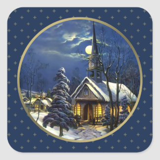Église vintage de Noël Autocollants de cadeau de