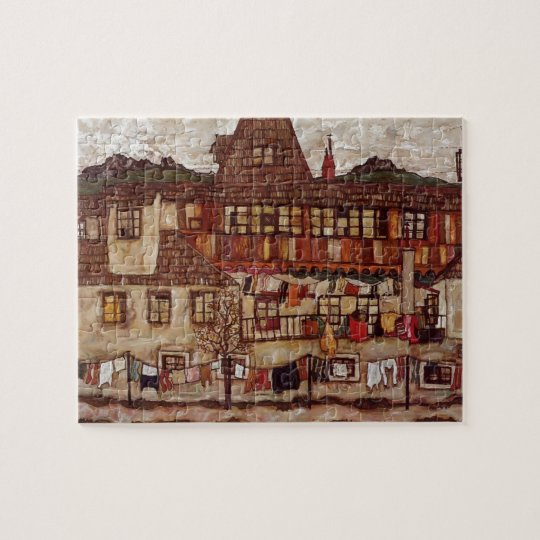 Egon Schiele- House with Drying Laundry Jigsaw Puzzle