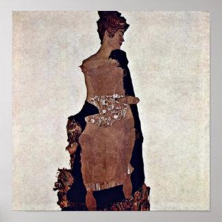 Egon Schiele - Portrait of Gertrude Schiele Poster