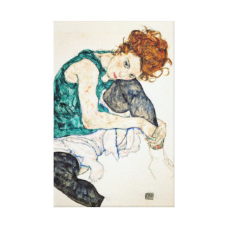 Egon Schiele Seated Woman with Bent Knee Canvas Print