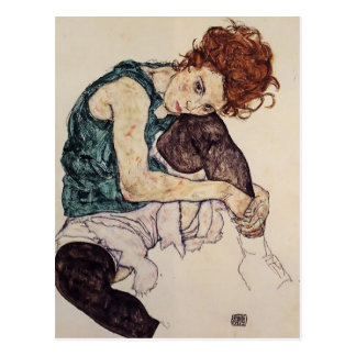 Egon Schiele- Seated Woman with Bent Knee Postcard